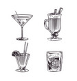 sketch cocktails alcohol drinks hand drawn cold vector image vector image