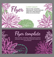 template with drawing water lilies vector image vector image