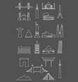 travel landmarks icon set with thin line style vector image vector image