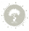 tree silhouette in a circle vector image vector image