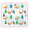 Vintage Christmas card with foxes vector image vector image