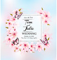 wedding invitation getting card with pink flowers vector image