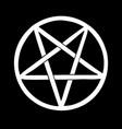 white pentagram on black background vector image