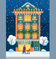 winter city house in winter and people with pram vector image vector image