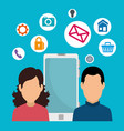 woman and man with digital social apps vector image
