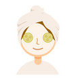 woman with facial mask and cucumber slices on her vector image vector image