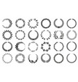 wreaths collection black and white patterns set vector image