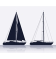 Set of luxury yachts silhouette vector image