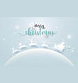 santa claus in a sledge and reindeer on moon vector image