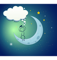A boy at the moon with an empty thought vector image