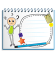 A notebook with a drawing of a confused boy vector image vector image