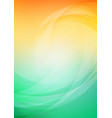 abstract curved with orange green background vector image vector image