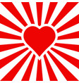 background for lovers red heart with rays vector image vector image