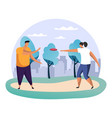 boy and girlman and woman playing frisbee at park vector image vector image