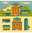 Buildings set Small town street landscape vector image