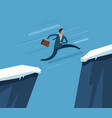 businessman jumping over chasm business concept vector image