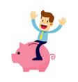 businessman riding a piggy bank vector image vector image