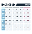 Calendar 2017 May design template Week vector image