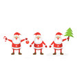 cartoon santa set flat template vector image