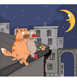Cats on a roof cartoon vector image vector image