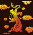 chinese dragon yellow-red gradient on a brown vector image