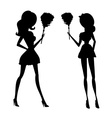 Clip art of a sexy house maid in silhouette vector image vector image