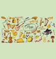 colorful doodle music elements set vector image