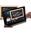 concept back to school on tablet screen vector image