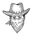 cowboy head bandit mask bandana sketch engraving