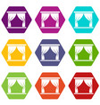 curtain on stage icon set color hexahedron vector image vector image