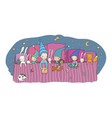 cute cartoon gnomes sleep in a bed funny wood vector image vector image