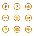 different sweet icons set cartoon style vector image vector image