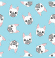 dog seamless pattern french bulldog paw repeat vector image vector image