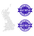 dotted map of great britain and distress stamp vector image