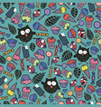 endless wallpaper with cute crazy owls and candies vector image