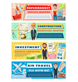 engineer pilot clerk and seller vector image vector image