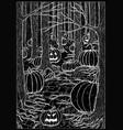 evil pumpkins in forest vector image