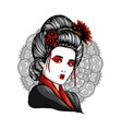 face a geisha drawn like a comic vector image vector image