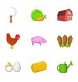 Farm icons set cartoon style vector image vector image