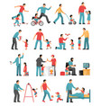 fatherhood colored icons set vector image