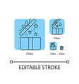 gift blue linear icons set vector image