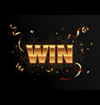 golden win banner for winners vector image
