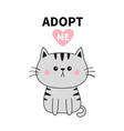 gray cat silhouette adopt me pink heart pet vector image vector image