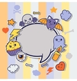 Halloween kawaii greeting card with cute sticker vector image