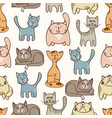 hand drawn cute cats seamless pattern - pets vector image