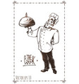 hand drawn of chef vintage poster vector image