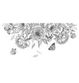 hand drawn peony flowers and flying butterflies vector image vector image