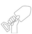 hand with gardening shovel isolated icon vector image