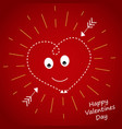 heart on a dark red background in yellow rays vector image vector image