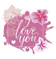 i love you hand drawn lettering with pink vector image